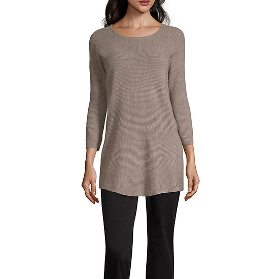 3ee994aa8d Worthington Womens Scoop Neck 3 4 Sleeve Pullover Sweater - JCPenney
