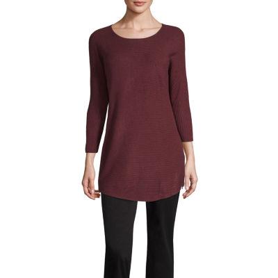 Worthington Womens Scoop Neck 3/4 Sleeve Pullover Sweater