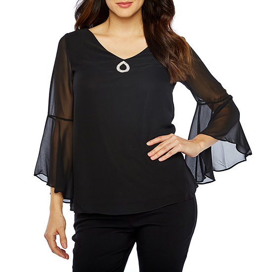 Onyx Nites Long Bell Sleeve V Neck Embellished Blouse