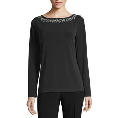Liz Claiborne-Womens Boat Neck Long Sleeve T-Shirt