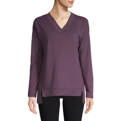 St. John's Bay Active Womens V Neck Long Sleeve Tunic Top