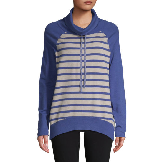 St. John's Bay Active Womens High Neck Long Sleeve Striped Pullover Sweater