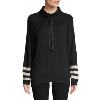 St. John's Bay Active Womens High Neck Long Sleeve Stripe Pullover Sweater