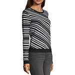 Worthington Womens Round Neck Long Sleeve Striped Pullover Sweater