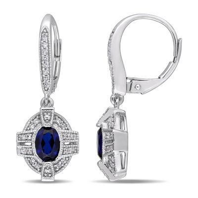 1/7 CT. T.W. Lab Created Blue Sapphire 10K White Gold Ear Pins