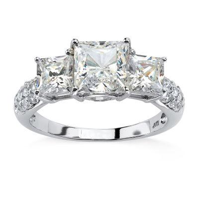 Diamonart Womens 3 CT. T.W. White Cubic Zirconia 10K White Gold Engagement Ring