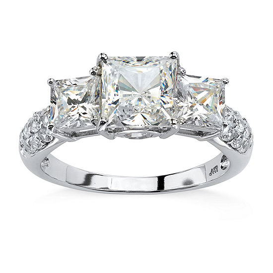 DiamonArt® Womens 3 CT. T.W. White Cubic Zirconia 10K White Gold Engagement Ring