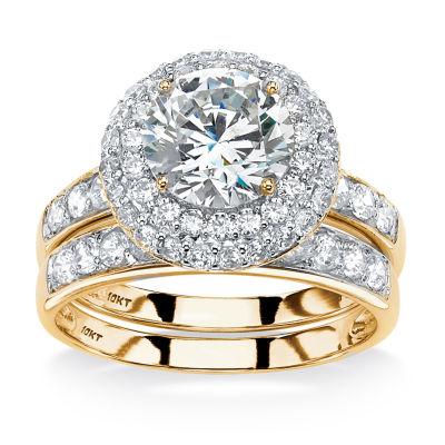 Diamonart Womens White Cubic Zirconia 10K Gold Bridal Set