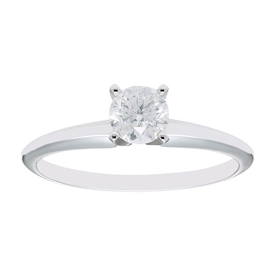 Womens 1/2 CT. T.W. Dyed White Diamond 14K White Gold Round Solitaire Engagement Ring