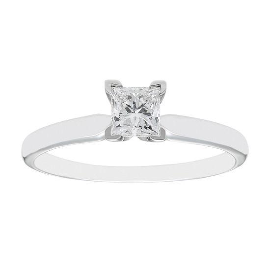½ CT. Princess Diamond Solitaire 14K White Gold Ring