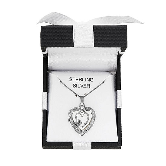 Womens White Sterling Silver Heart Locket Necklace