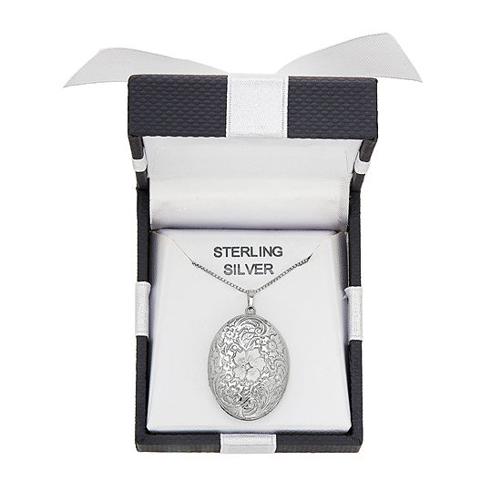 Womens Sterling Silver Oval Locket Necklace