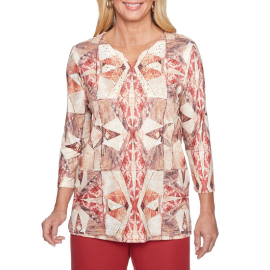 Alfred Dunner Sunset Canyon 3/4 Sleeve Split Crew Neck Geometric T-Shirt-Womens