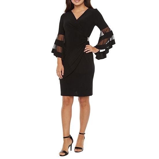 R & M Richards 3/4 Bell Sleeve Embellished Sheath Dress