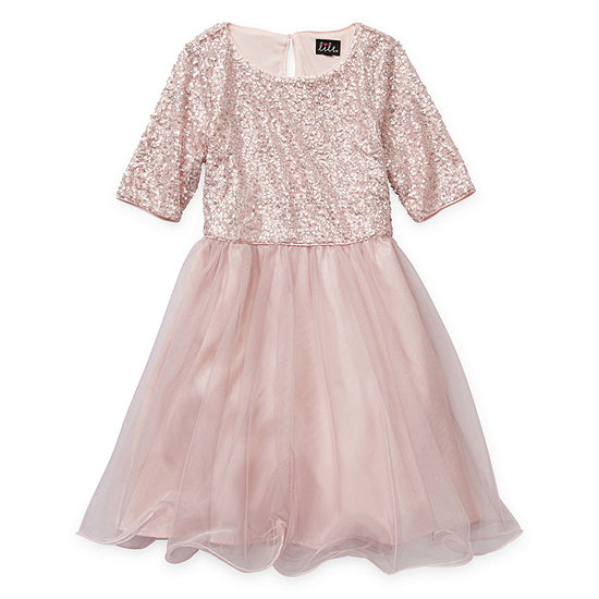 Lilt Girls Elbow Sleeve Fitted Sleeve Party Dress - Big Kid