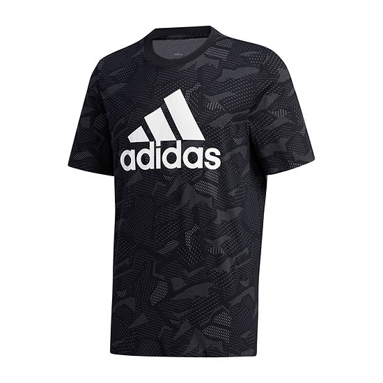 adidas Mens All Over Print Crew Neck Short Sleeve T-Shirt-Big and Tall