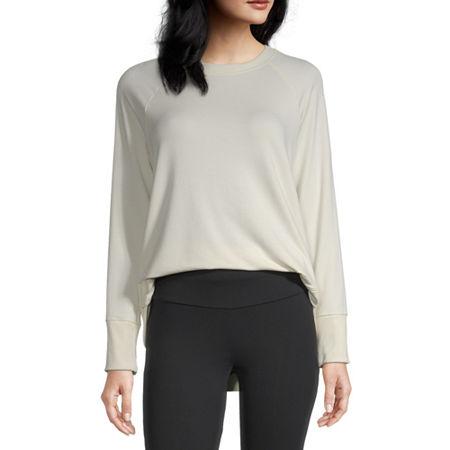 Stylus Shirttail Womens Crew Neck Long Sleeve Sweatshirt, X-small , White