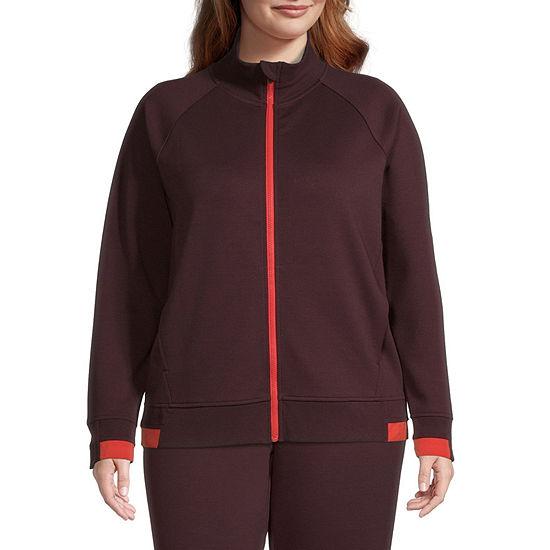 Xersion Womens Mock Neck Long Sleeve Quarter-Zip Pullover Plus