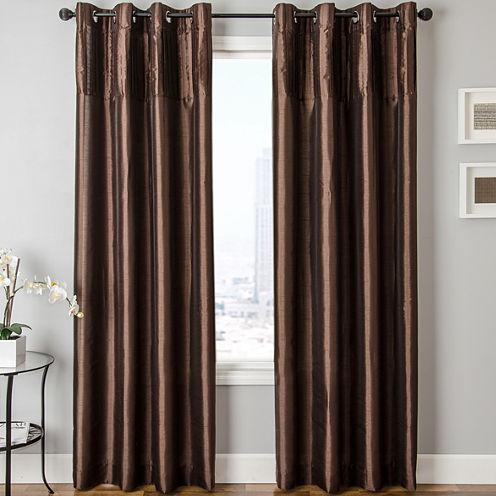Colfax Faux-Silk Grommet-Top Curtain Panel