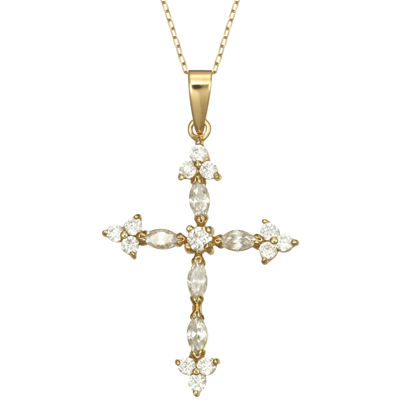 Cubic Zirconia Cross Pendant In 14K Gold Over Sterling Silver Necklace
