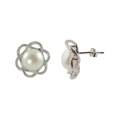 Cultured Freshwater Pearl & Diamond-Accent Earrings