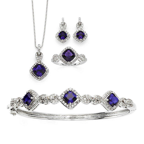Lab-Created Amethyst & Cubic Zirconia Silver over Brass 4-pc. Boxed Jewelry Set