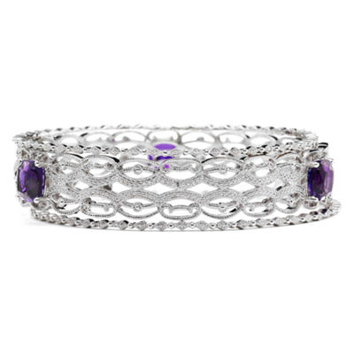 Lab-Created Amethyst & Diamond-Accent 3-pc. Bangle Bracelet Set