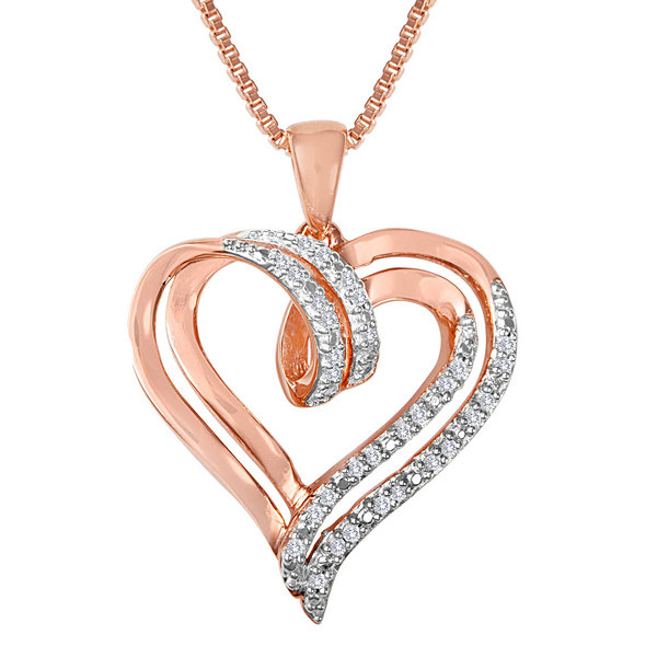 110cttw pink gold over silve diamond heart pendant tw diamond heart pendant necklace mozeypictures Image collections