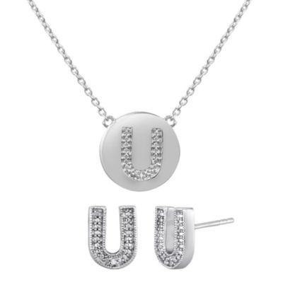 "Diamond Addiction Diamond-Accent Initial ""U"" Set"