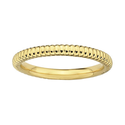 Personally Stackable 18K Yellow Gold Over Sterling Silver Textured Ring