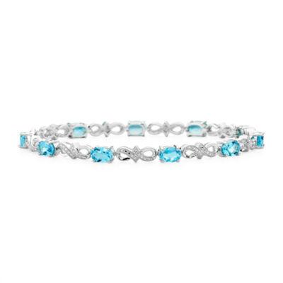 Genuine Blue Topaz and Diamond-Accent Sterling Silver Bracelet