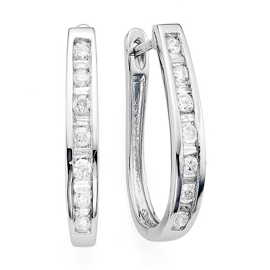 1/2 CT. T.W. Diamond 10K White Gold Hoop Earrings