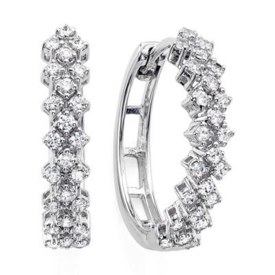 Womens Genuine Diamond 10K White Gold Double-Row Hoop Earrings