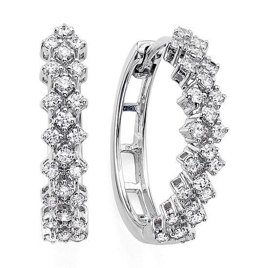 Womens Genuine Diamond 10k White Gold Double Row Hoop Earrings
