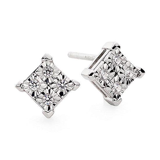 Diamond Accent 10k White Gold Quad Framed Stud Earrings