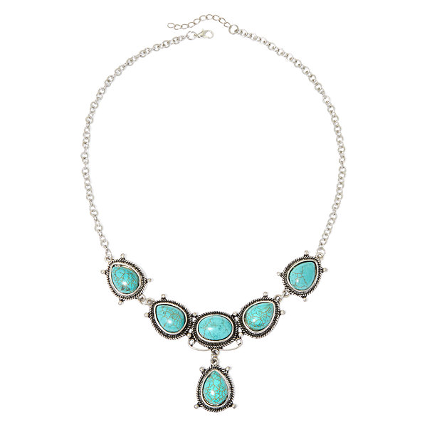 Aris by Treska Aqua Stone Bib Necklace
