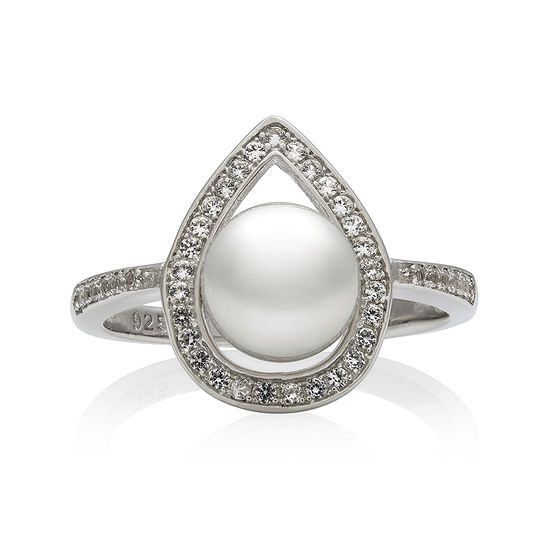 Sterling Silver Cultured Freshwater Pearl & Lab-Created White Sapphire Ring