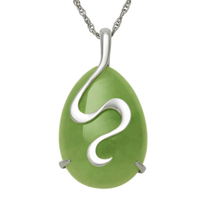 Sterling Silver Swirl Dyed Drop Jade Pendant Necklace