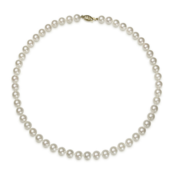14K Yellow Gold Akoya Pearl Necklace 16""