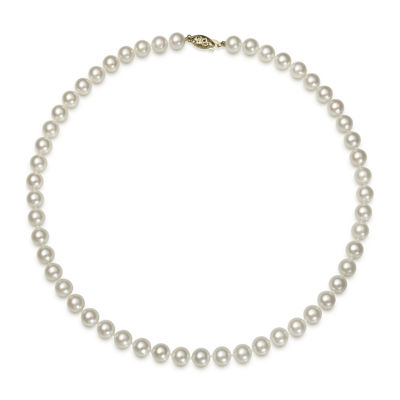 14K Yellow Gold Akoya Pearl Necklace 16