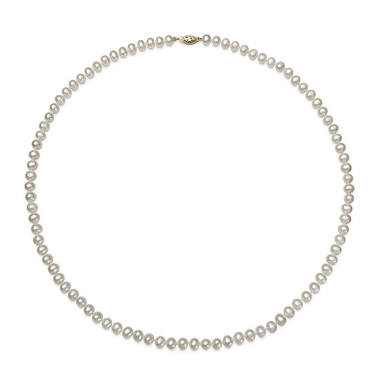 24 inch 6.5-7mm Akoya Pearl Necklace in 14K Yellow Gold