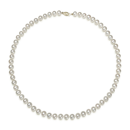 "Genuine Akoya Pearl 14K Yellow Gold 20"" Necklace"