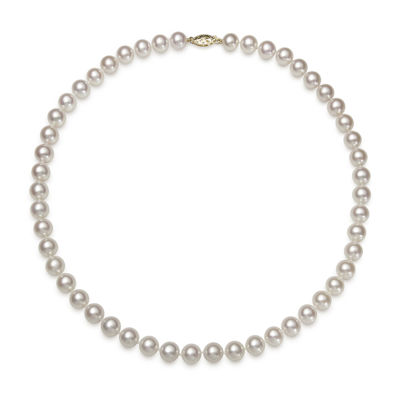 "Genuine Akoya Pearl 14K Yellow Gold 18"" Necklace"