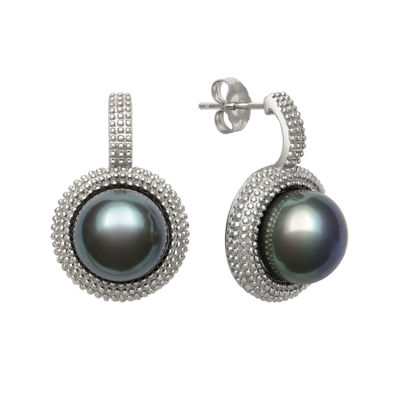 Sterling Silver Dyed Black Cultured Freshwater Pearl Earrings