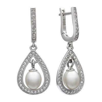 Sterling Silver Cultured Freshwater Pearl & Lab-Created White Sapphire Earrings