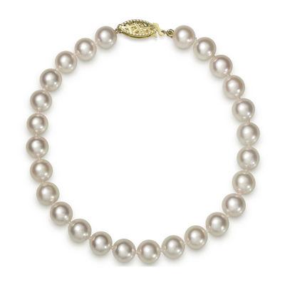 14K Yellow Gold Genuine Akoya Pearl Bracelet