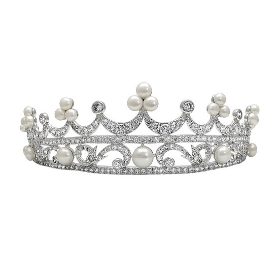 Cultured Freshwater Pearl and Cubic Zirconia Tiara