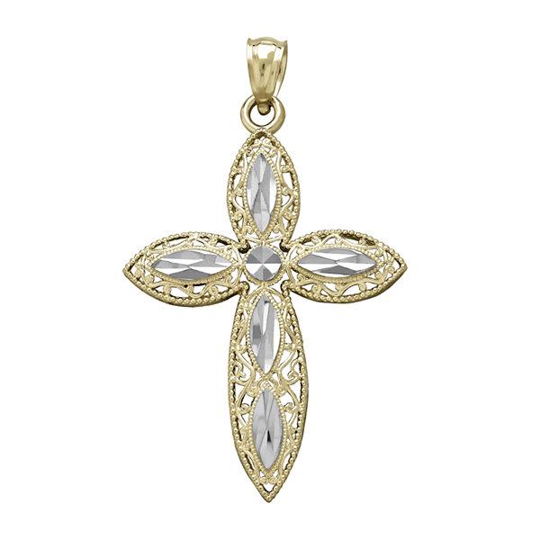 Tesoro 14k two tone gold diamond cut filigree cross pendant tesoro 14k two tone gold diamond cut filigree cross pendant aloadofball Image collections