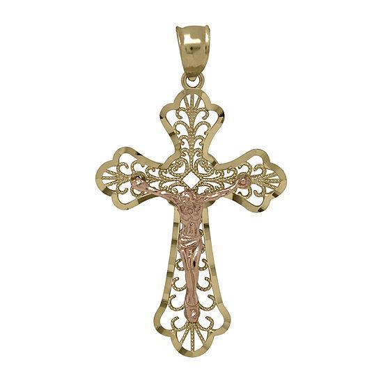 Tesoro™ 14K Two-Tone Gold Filigree Cross Pendant