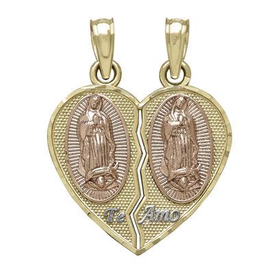 Tesoro™ 14K Tri-Color Our Lady of Guadalupe Break Apart Heart Prayer Pendant